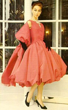 """Bubble/Puffball Dress""............Coral - Vintage Christian Dior, 1955"