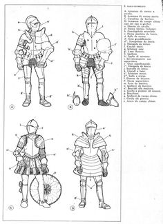 Various tipa of renaissance plate armor century Knight use for tournament or fight on the field Medieval Knight, Medieval Armor, Medieval Fantasy, Larp Armor, Armor All, Armadura Medieval, Medieval Drawings, Knight Art, Armor Concept