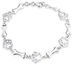 Bling Jewelry Sterling Silver Dog Bone Jewelry Bracelet Animal Paw Print.