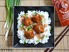 Amazing! Turkey Sriracha Meatballs! I added 2 teaspoons of garlic one for the meatballs, one for the sauce, broccoli and asparagus. Delish!!!!