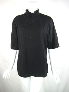 ST. JOHN NWT Black Caviar Beaded Short Sleeve Turtleneck Blouse Size XL $495 #STJOHN #Blouse