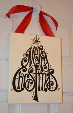 Hand Painted Merry Christmas Tree Canvas by GreenPearlPaintshop. via Etsy. Good craft idea!