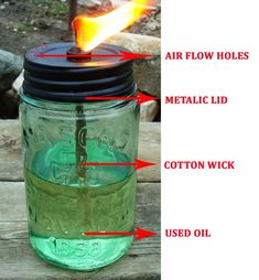cooking Hacks Oil - How To Make Survival Lamps With Used Cooking Oil and Mason Jars. Survival Food, Homestead Survival, Wilderness Survival, Outdoor Survival, Survival Knife, Survival Prepping, Emergency Preparedness, Survival Skills, Survival Hacks