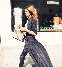 8 Elevated Outfits You Can Easily Copy via @WhoWhatWear Super long shirt over leather pants