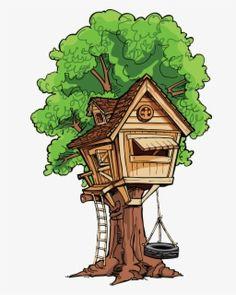 House Clipart, Tree Clipart, Hut Images, Cartoon Trees, Magic Treehouse, Home Art, Doodles, Clock, Clip Art