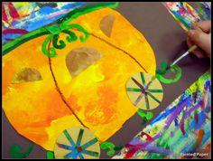 Fairy Tales and Fables: Magical Pumpkin Carriages Pumpkin Carriage, Thematic Units, Kindergarten Lessons, Fairytale Art, Painted Paper, Art Plastique, Art Lessons, Art For Kids, Paper Art