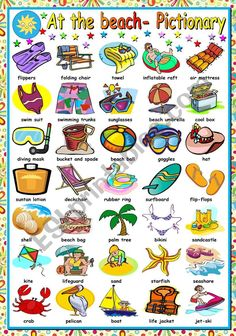 First worksheet in a set on the beach. This is the pictionary. I hope you like it and find it useful. I wish you all a wonderful summer. English Resources, English Tips, English Study, English Lessons, English Verbs, English Vocabulary, English Grammar, Vocabulary List, English Language Learning