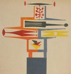 Jean PEYRISSAC (1895-1974)    Composition pour une sculpture, vers 1927 Gouache monogrammée en bas à droite. 46,5 x 44 cm