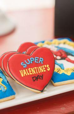 Boy's Superhero Valentine Party cookies www.spaceshipsandlaserbeams.com