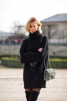 just a cozy knit & thigh highs... #AnjaRubik #offduty in Paris.