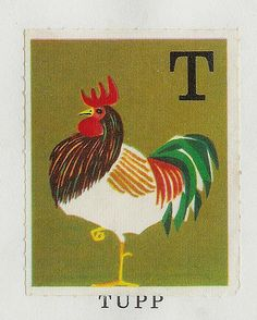 ABC Swedish Animal illustrations by Staffan Wirén Childrens Alphabet, Alphabet Book, Animal Alphabet, Circle Drawing, Postage Stamp Design, Animal Graphic, Chicken Art, Chickens And Roosters, Rare Birds