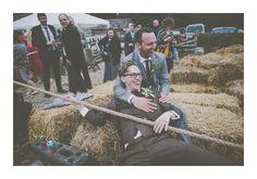 Cheerful Chilli Barn Wedding | Tug of war! Groom
