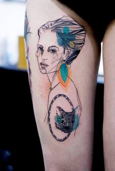 Watercolor portrait thigh tattoo - Whether a dedication to a person in your life or simply a praise of beauty, portrait tattoos will never go out of style. Adding the watercolor effect could make it glorious on a different level.