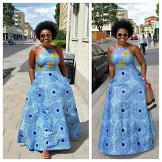 Skyblue African Print Dress/African Clothing/African Dress For Women/African Dress/African Midi Dres African Dresses For Women, African Print Dresses, African Attire, African Fashion Dresses, African Wear, African Women, African Prints, African Style, African Dress Designs