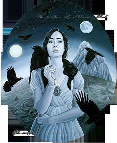 Fine Art Print Grimm FairyTale Seven Ravens & Girl 8.3 x 11.7 inches. $15.00, via Etsy.