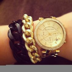 Two Toned Chunky Chain Bracelet  Black and Gold by eycollection, $20.00