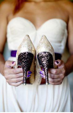 white shoes.. purple glitter!