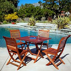 @Overstock - With the Andalouse Deluxe Eucalyptus set of 4 chairs and table, you can let your guests dine in style outdoors at any time. Simply fold the set away for easy storage during the off-season months.http://www.overstock.com/Home-Garden/Andalouse-Deluxe-Eucalyptus-Wood-Square-5-piece-Outdoor-Dining-Set/6528255/product.html?CID=214117 $359.99
