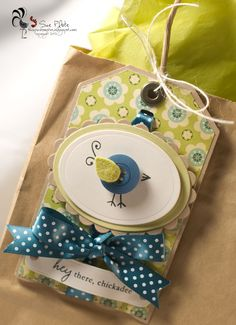 Everyday button bits birdie tag by Sue Plote - This Pink Rooster