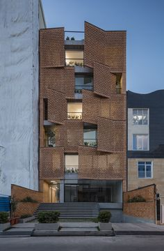 Gallery of Saadat Abad Residential Building / Mohsen Kazemianfard - fundamental approach architects - 6 - Architektur A As Architecture, Modern Residential Architecture, Computer Architecture, Building Facade, Building Design, Facade Design, House Design, Brick Facade, Gallery
