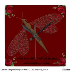 Ornate Dragonfly Square Wall Clock