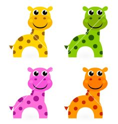 Funny colorful giraffe set isolated on white vector Vector Free, Pikachu, Royalty Free Stock Photos, Clip Art, Cartoon, Funny, Illustration, Animals, Colorful