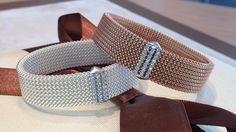 ORIGINAL JEWELRY Flexible bracelets with silver and zircon charm. Bracciali elastici in maglia di acciaio con piastrina in argento e zirconi.