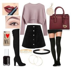 """""""Untitled #79"""" by ribeeirotelminha on Polyvore featuring Michael Kors, Casetify, Chicnova Fashion, Fiebiger, Essie, Forever 21, Kate Spade, women's clothing, women and female"""