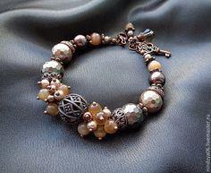 Купить браслет, серия ЭТНИКА - бежевый, жемчужный браслет, бежевый жемчуг, кремовый цвет