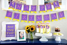 Rapunzel Birthday Party - Free Printables Decorations - banner and more for your Disney Princess party on MyPrintly.com.