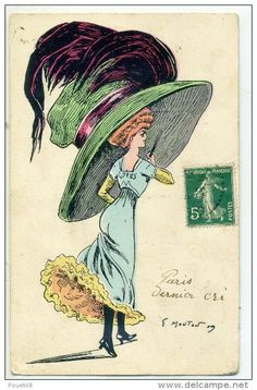 Lady in huge feathered hat - mode - antique postcard