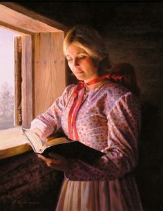 by Alfredo Rodriguez; pioneer-style woman reading by cabin window