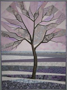 """Frosty Winter Morning, 35 x 47"""", art quilt by Terry Aske 