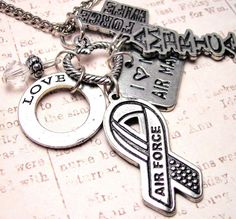 Air Force wife  heart  charm holder  necklace by MyTinyTemptations, $19.00