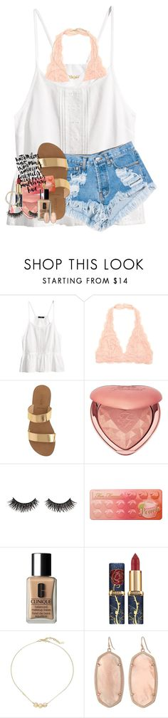 """50 questions in d"" by lindsaygreys ❤ liked on Polyvore featuring H&M, Levi's, J.Crew, Too Faced Cosmetics, Clinique, Cole Haan, Kendra Scott and Jigsaw"