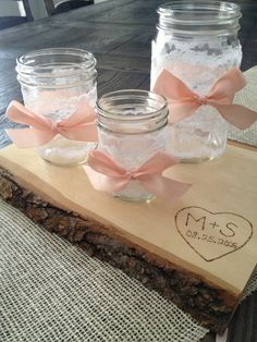 BrightNest | Use mason jars, a little lace and some ribbons for votives or garden party decorations. Sign up for a free http://brightnest.com to get more personalized design and #DIY ideas!