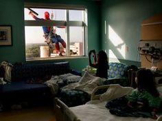 Superhero Window Washers Cheer Up Children at Hospital