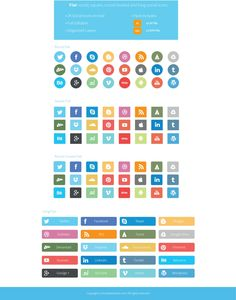 Flat-Social-Icons by on deviantART Web Design, Graphic Design Tools, Icon Design, Design Elements, Social Media Buttons, Online Fonts, Ui Design Inspiration, Design Research, Social Media Icons