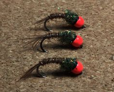 3 Hot Headed Tungsten Beaded Yellow Flash Orange Body Grub Nymphs