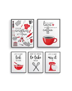Red Gray Kitchen Wall Decor, Red Gray Kitchen wall art prints set, Red Kitchen prints, Modern Red Home Decor, Red Gray Dining room decor
