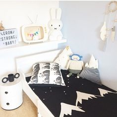 Cute little room! We have the gorgeous mountains blanket by @whitefoxandco in store now! #baby blanket #whitefox #stfdnz