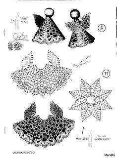 "Photo from album ""Неразобранное"" on Yandex. Wire Crochet, Crochet Motif, Crochet Designs, Crochet Patterns, Bobbin Lacemaking, Bobbin Lace Patterns, Crochet Angels, Angel Crafts, Point Lace"