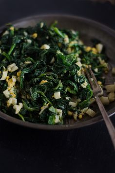 Buttered Spinach   http://nourishedkitchen.com/buttered-spinach-recipe/