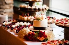 Who needs a massive wedding cake when you can share tidbits of tasty desserts at a dessert bar? This gorgeous display of goodies is courtesy of The Ridge Tahoe, one of the best places to host your destination wedding! Come see why South Shore is the fun side of the lake. #destinationwedding #Tahoewedding www.tahoeweddingsites.com
