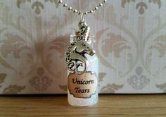 Unicorn Tears Necklace Glass Bottle Pendant Charm Fantasy Jewellery Gift
