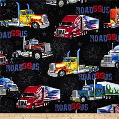 Kanvas On The Road Again Big Rig Black from @fabricdotcom  Designed by Maria Kalinowski of Kanvas for Benartex Fabrics, this cotton print is perfect for quilting and craft projects as well as apparel and home décor accents. Colors include shades of blue, grey, yellow, red and black.