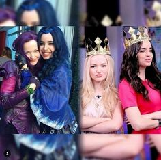 Sofia Carson and Dove Cameron on the set of Disneys descandants