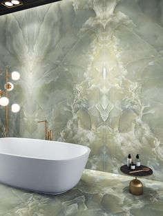 Introducing Onyx Sense. A new marble-effect porcelain tile from Italy. Bad Inspiration, Bathroom Inspiration, Onyx Tile, Bathroom Design Luxury, Interior And Exterior, House Design, Home Decor, Green Onyx, Porcelain Tile
