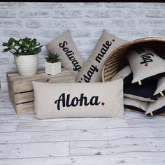 Excited to share the latest addition to my #etsy shop: Aloha cushion, travel inspired cushion, travel cushion, wanderlust gift, special occasion gift, aloha statement cushion, birthday gift