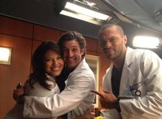 Sara Ramirez, Patrick Dempsey, and Jesse Williams on Set